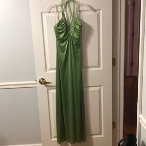 Green floor length dress